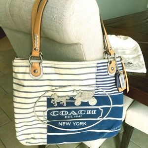 Pre-owned Coach Poppy Patchwork Stripes Glam Tote